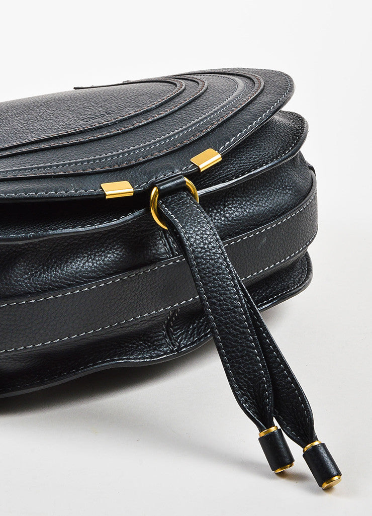 "Chloe Black Grained Leather Saddle Crossbody ""Marcie"" Bag Bottom View"