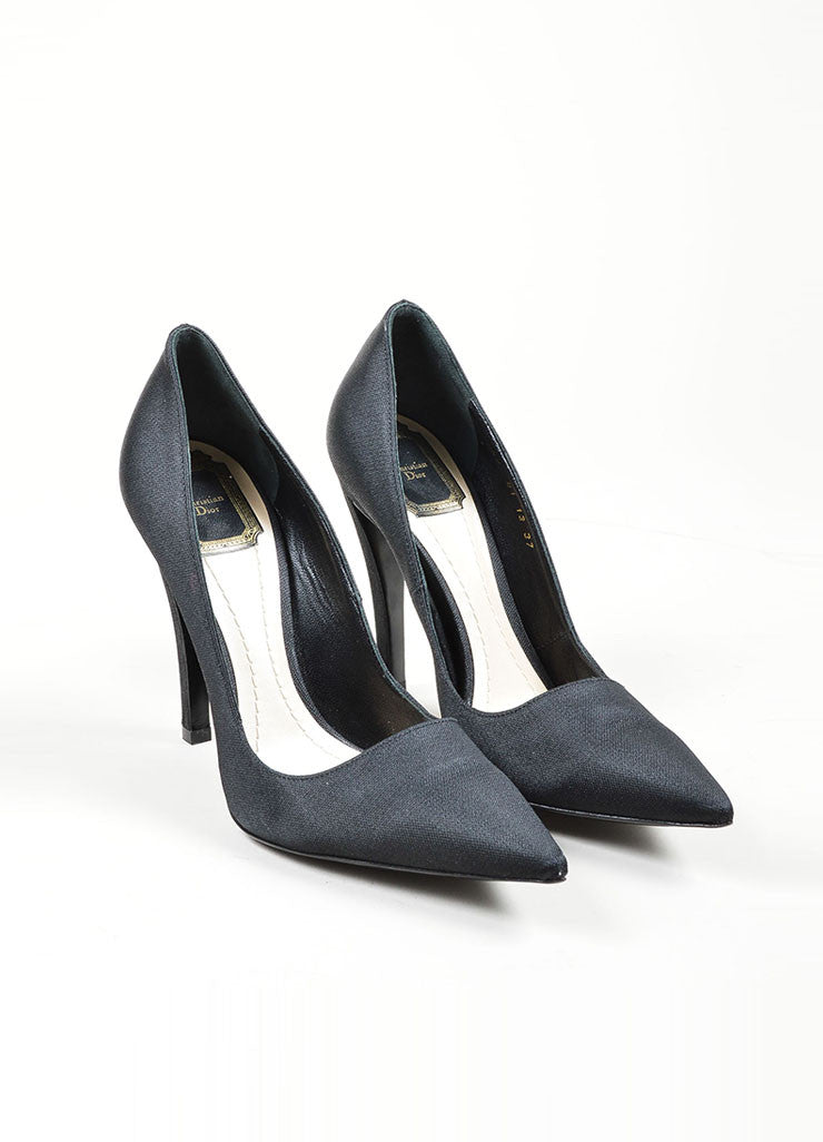 Black Christian Dior Textured Satin High Stiletto Heel Pointed Toe Pumps Frontview