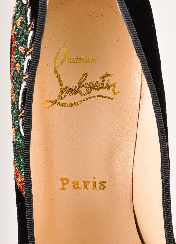 "Christian Louboutin Black ""Highness Dragon Tattoo"" Velvet Peep Toe Pumps Brand"