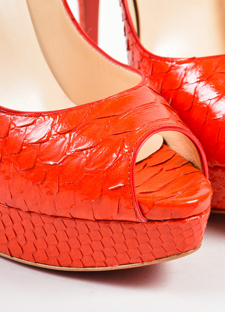 "Red Coated Snakeskin Christian Louboutin ""Lady Peep 150"" Pumps Detail"