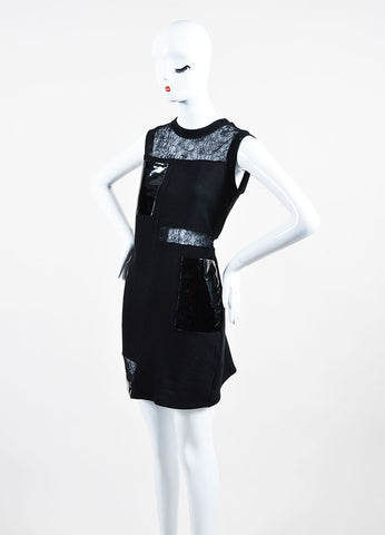Black Christopher Kane Patent Leather Lace Panel Sweatshirt Dress Sideview