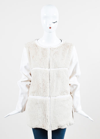 Courreges Cream and Beige Fur Paneled Magnetic Closure Jacket Frontview 2