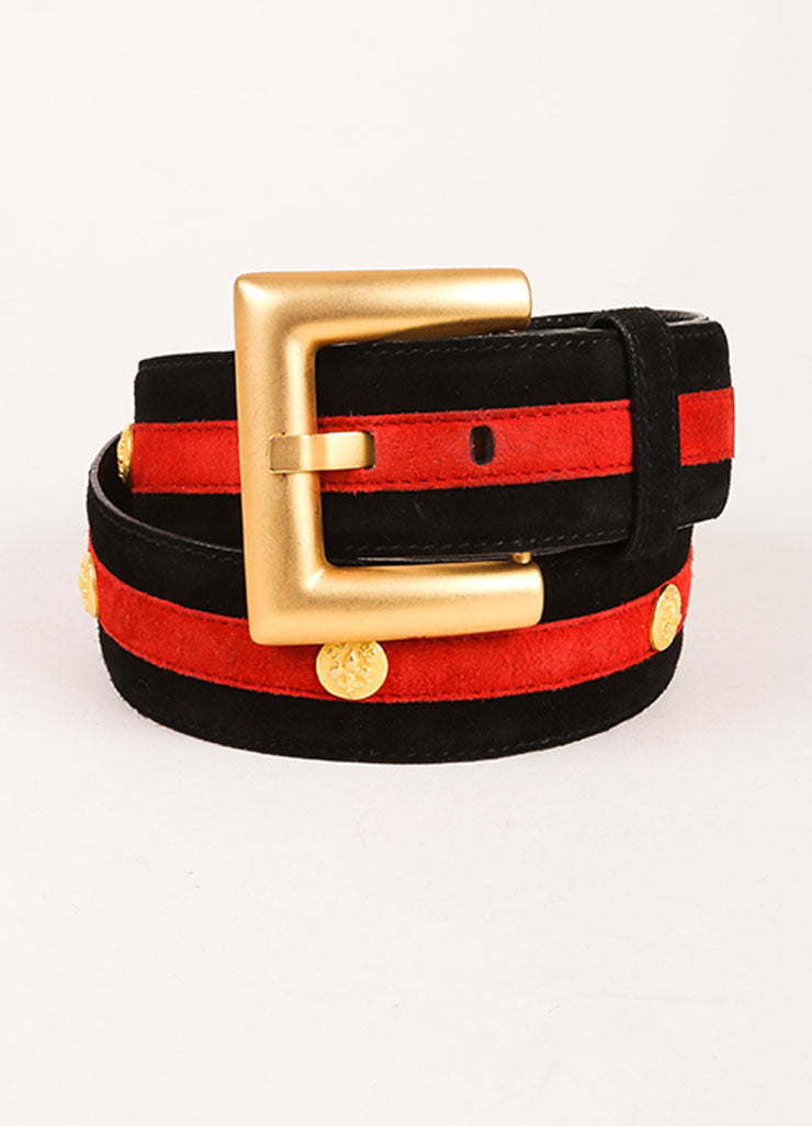Escada Black, Red, and Gold Toned Suede Striped Fleur de Lis Studded Belt Frontview