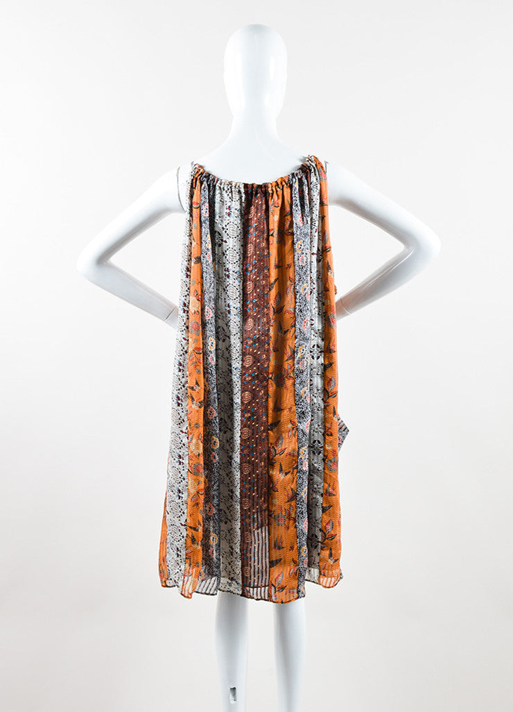 "Isabel Marant Brown Silk Mixed Print Sleeveless ""Alibay"" Dress Backview"