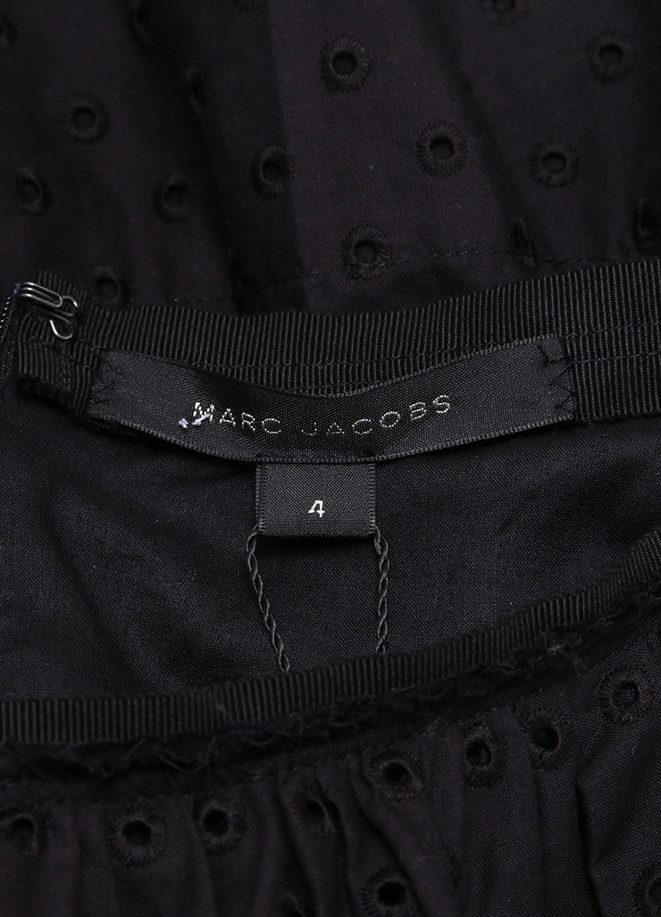 Marc Jacobs New With Tags Black Cotton Eyelet Knee Length Yoked Skirt Brand
