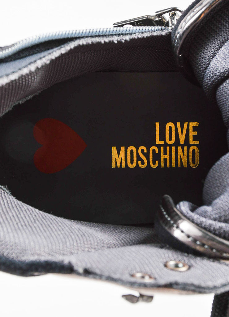 "Moschino Silver and Black Suede Leather ""Love"" High Top Sneakers Brand"