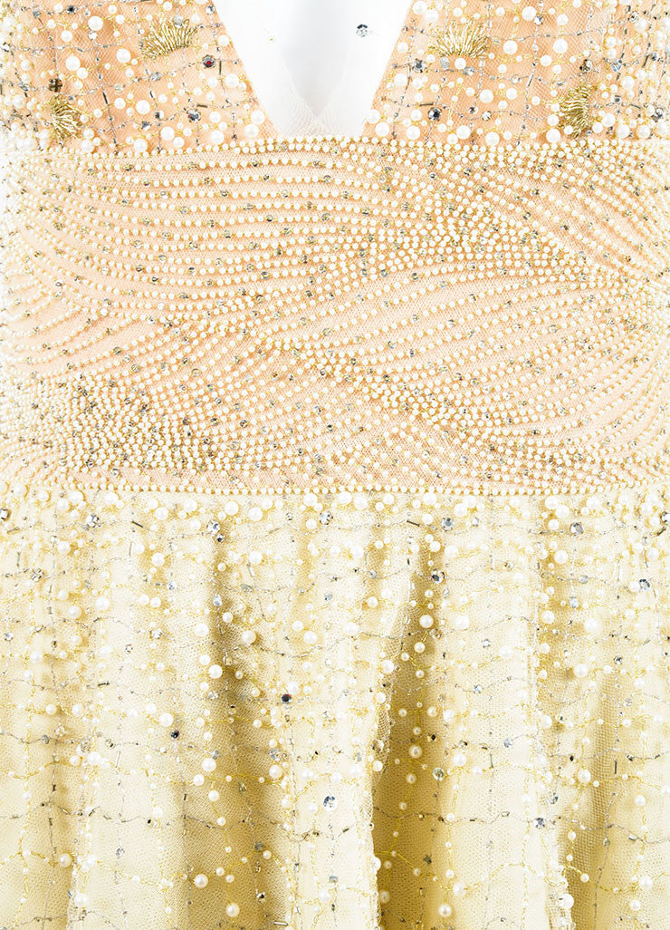Pale Yellow Oscar de la Renta Tulle Pearl Beaded Halter Evening Gown Detail