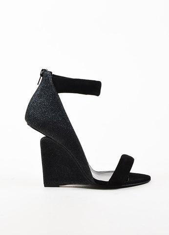 "Pierre Hardy Black Leather Glittered Wedge ""Amanda"" Sandals Sideview"
