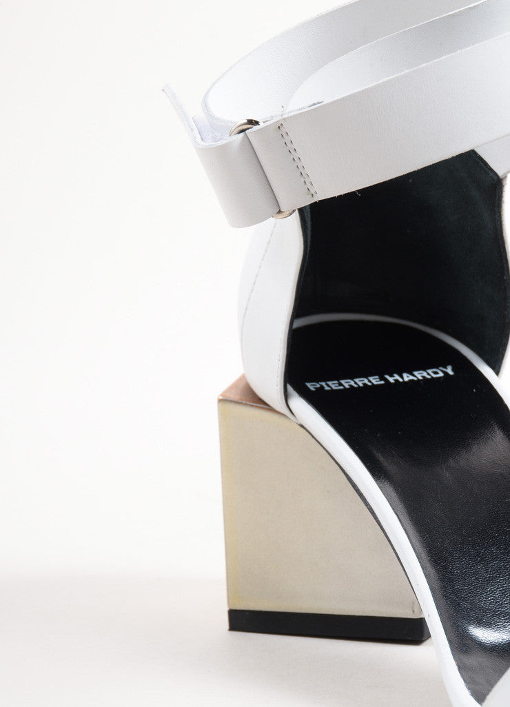"Pierre Hardy White Leather Metallic Block Heel ""Monolite"" Sandals Detail"