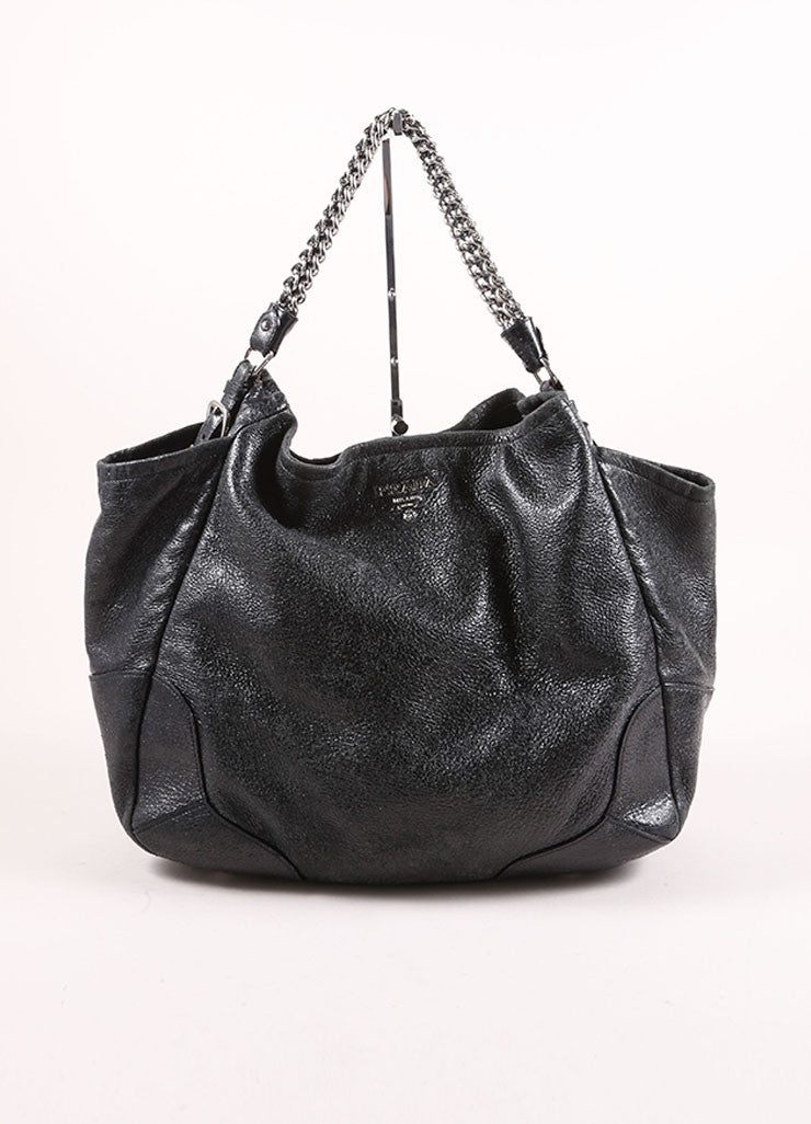 "Prada Black Distressed Leather Metallic Glitter Chain ""Cervo Lux"" Shoulder Bag Frontview"
