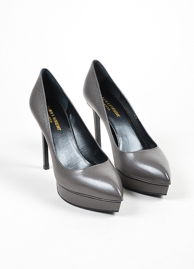 "Saint Laurent ""Road Gray"" Leather Point Platform ""Janis"" Pumps Frontview"