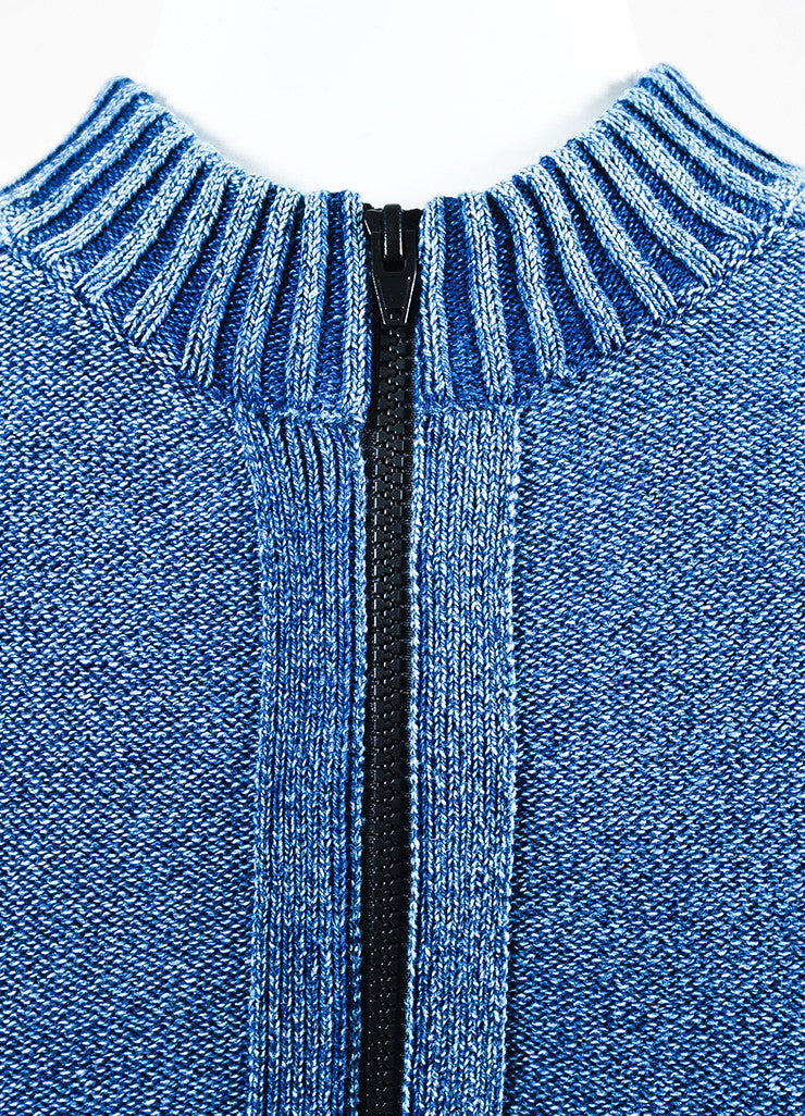 T by Alexander Wang Blue Cotton Blend Knit Faux Denim Sleeveless Bodycon Dress Detail