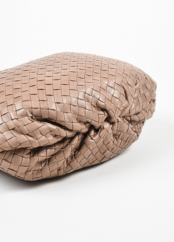 Taupe Bottega Veneta Intrecciato Woven Crossbody Bag Bottom View