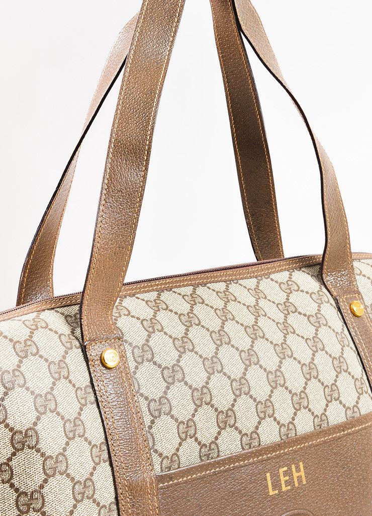 Gucci Beige and Brown Coated Canvas Leather Monogram Travel Tote Bag Detail 2