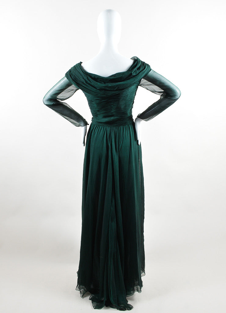 Oscar de la Renta Emerald Green Silk Chiffon Long Sleeve Gown Backview