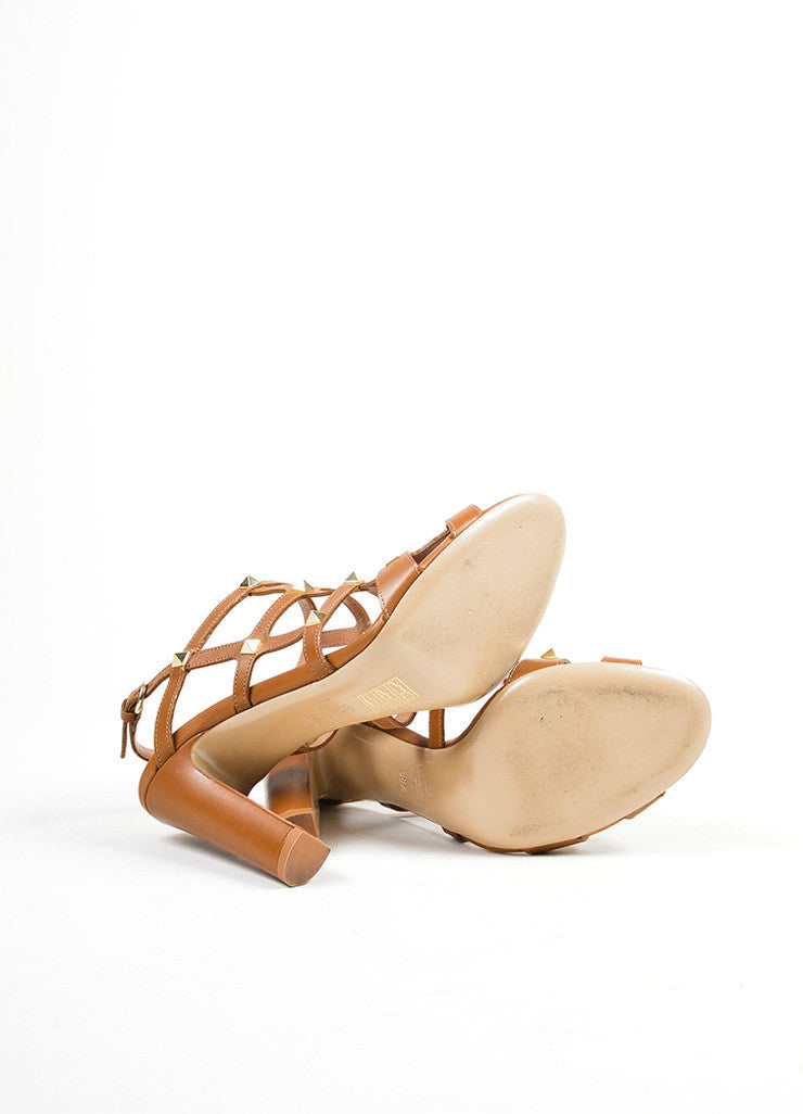 Brown Valentino Leather Rockstud Cage Slingback Sandals Outsoles