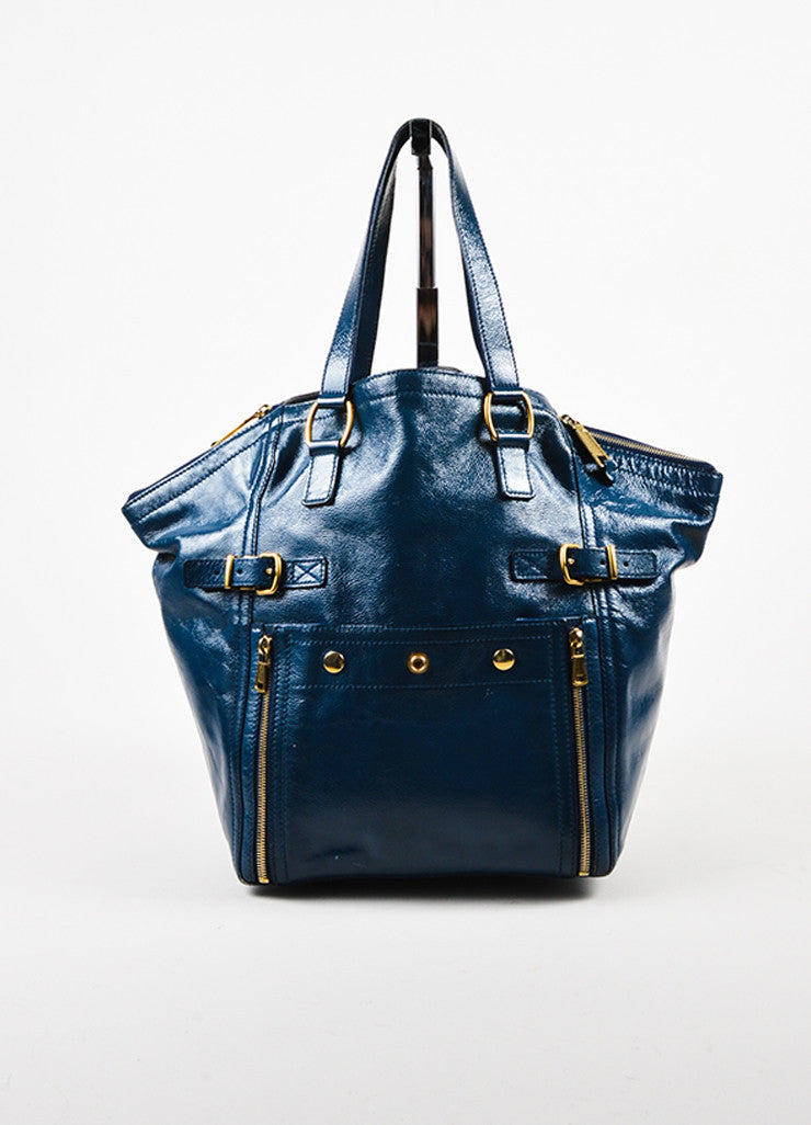 "Yves Saint Laurent Rive Gauche Blue Patent Leather ""Downtown"" Tote Bag Frontview"