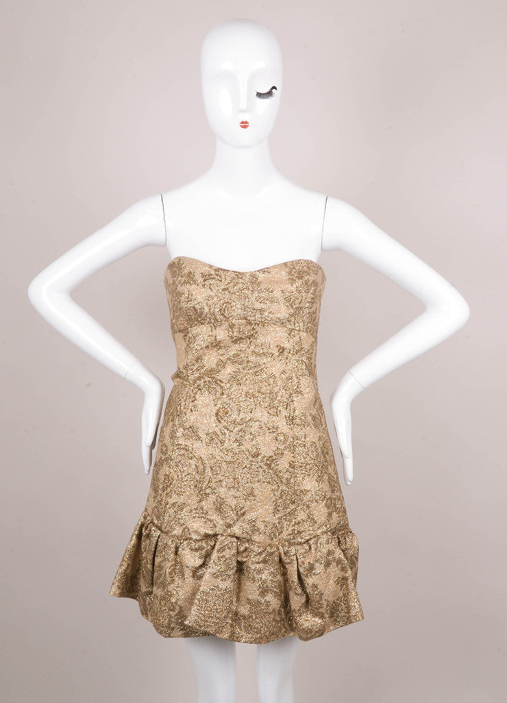 Gold Metallic Brocade Flounce Hem Strapless Mini Dress