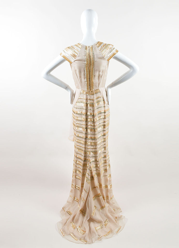Bibhu Mohapatra Beige Silk and Gold Sequin Beaded Cap Sleeve Gown Backview