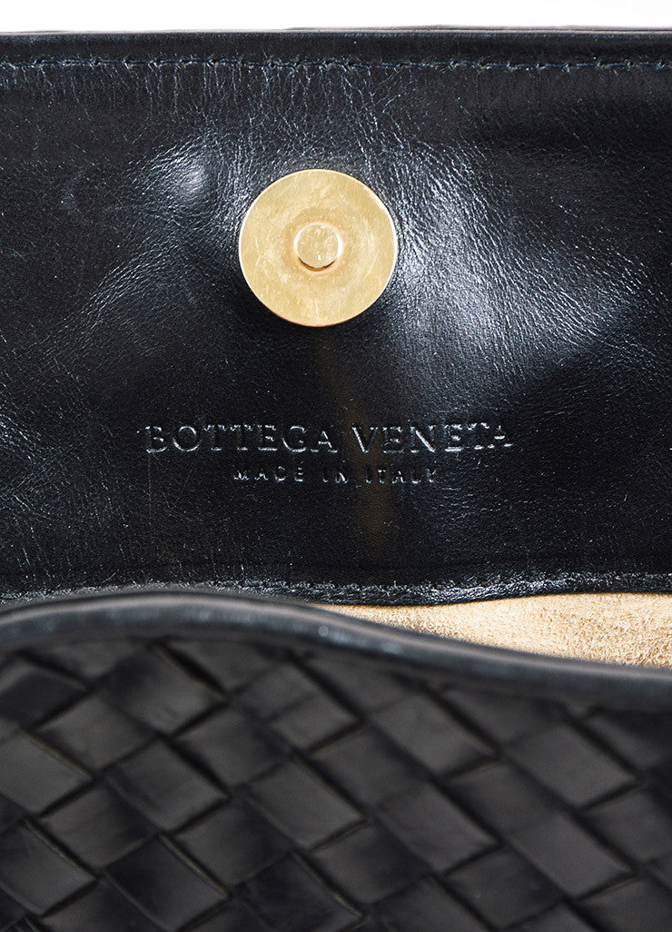 Bottega Veneta Black Leather Intrecciato Woven East West Tote Bag Brand