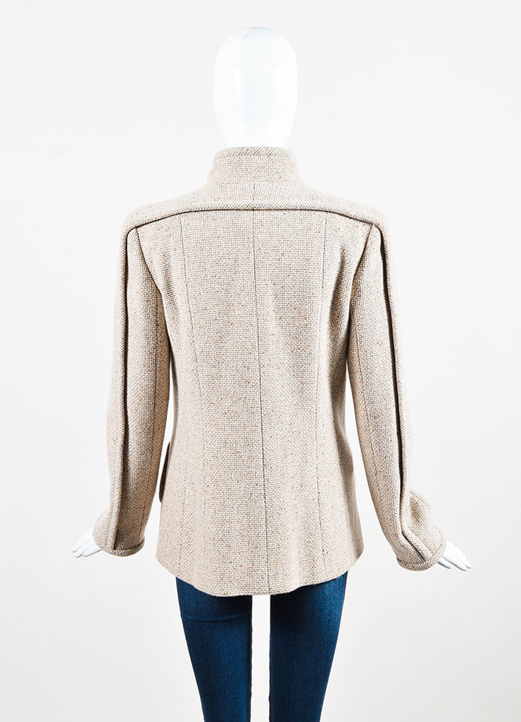 Chanel Beige and Grey Cashmere Tweed 'CC' Enamel Button Piping Jacket Backview