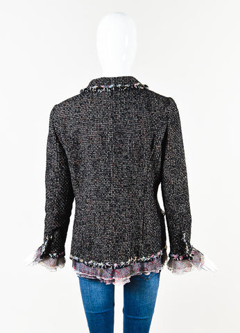 Chanel 2004 Limited Edition NY Timeless Black Multicolor Tweed Jacket Back