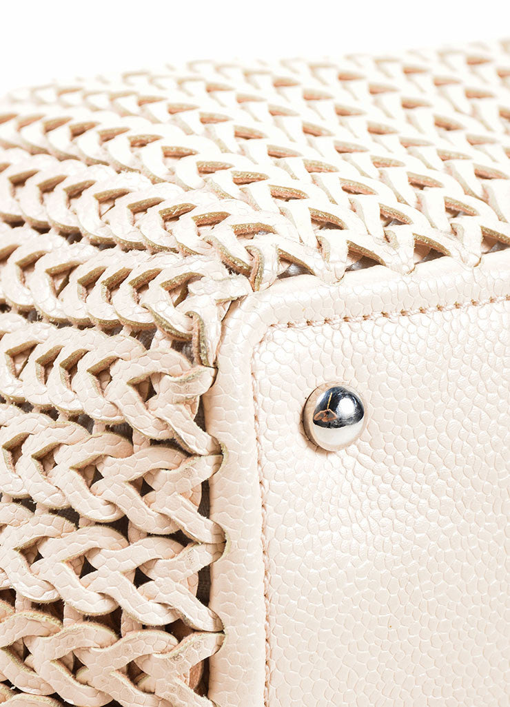 Chanel Blush Beige Braided Leather Chain Strap Slouchy Bag Detail