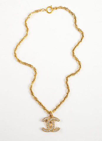 "Chanel Gold Toned Chain Link ""CC"" Rhinestone Embellished Pendant Necklace Frontview"