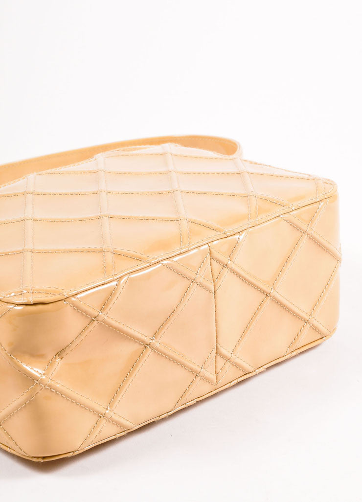Chanel Tan Quilted Patent Leather Shoulder Bag Bottom View