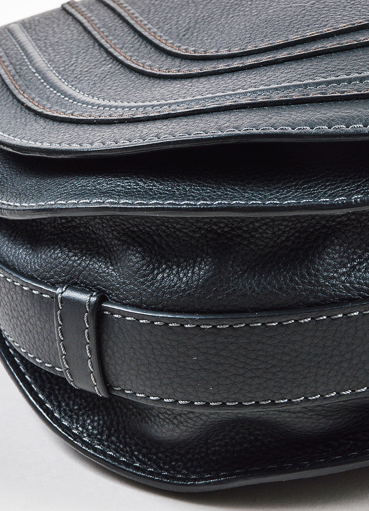 "Chloe Black Grained Leather Saddle Crossbody ""Marcie"" Bag Detail"