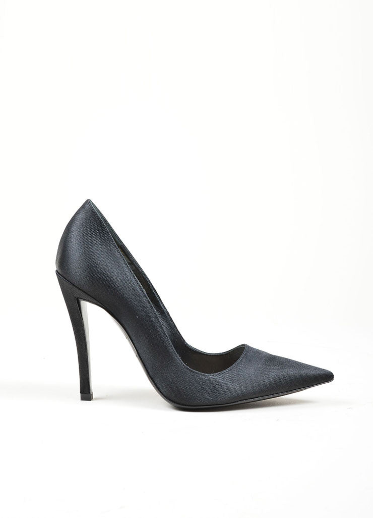 Black Christian Dior Textured Satin High Stiletto Heel Pointed Toe Pumps Sideview