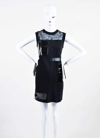 Black Christopher Kane Patent Leather Lace Panel Sweatshirt Dress Frontview