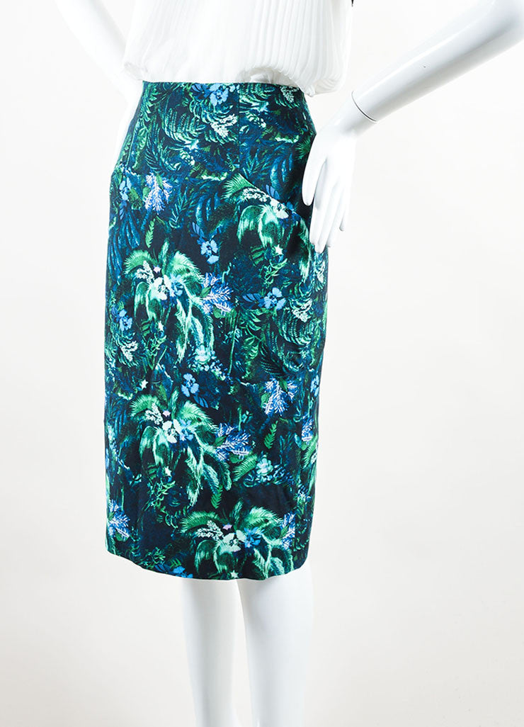 Erdem Green and Blue Tropical Floral Print Pencil Skirt Sideview