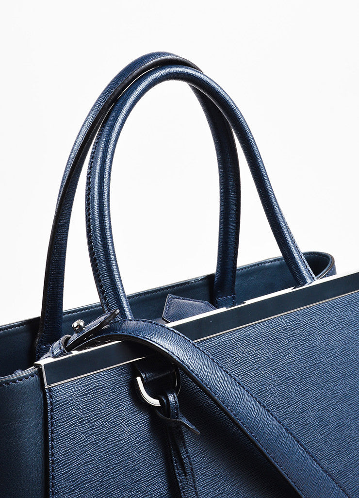 "Fendi Navy and Silver Toned Dual Leather Crossbody Medium ""2Jours"" Satchel Bag Detail 2"