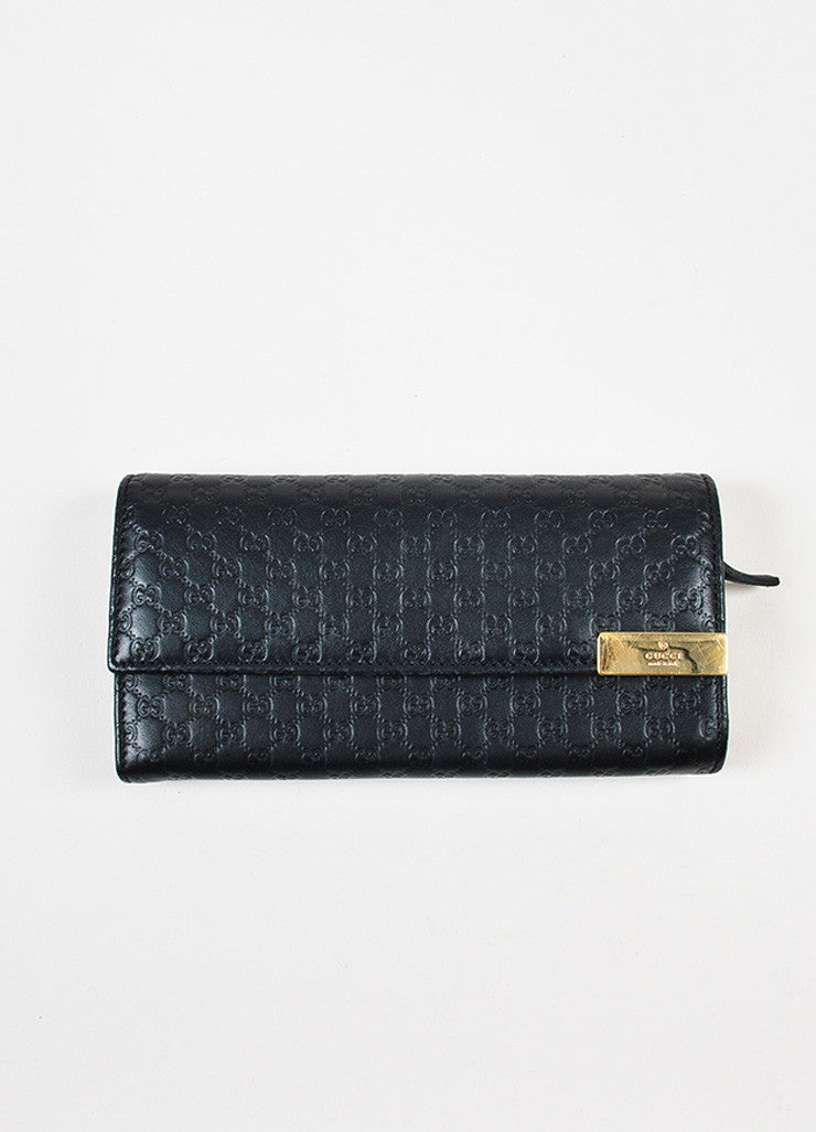 Gucci Black Microguccissima Leather Chain Strap Wallet Front