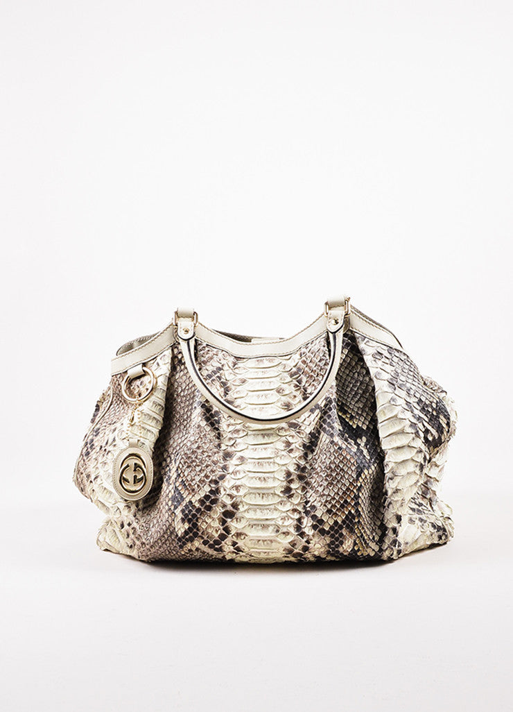 "Gucci Cream and Brown Python Leather Large ""Sukey"" Hobo Bag Frontview"