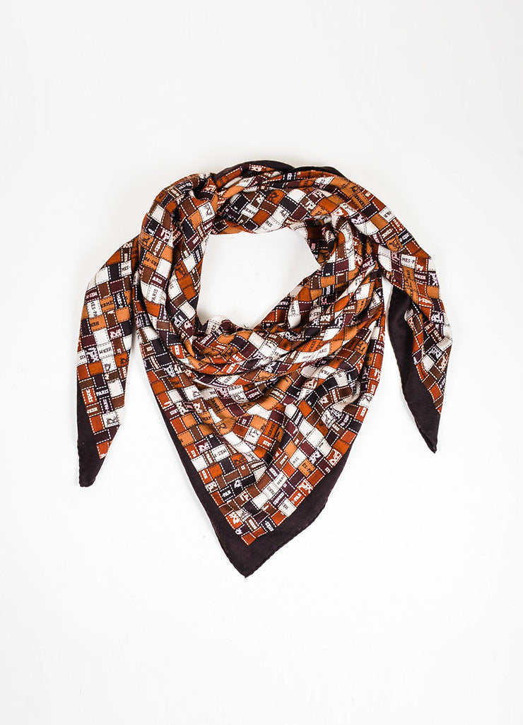 "Brown and White Hermes Patchwork Logo Print ""Bolduc au Carre"" Square Shawl Scarf Frontview"