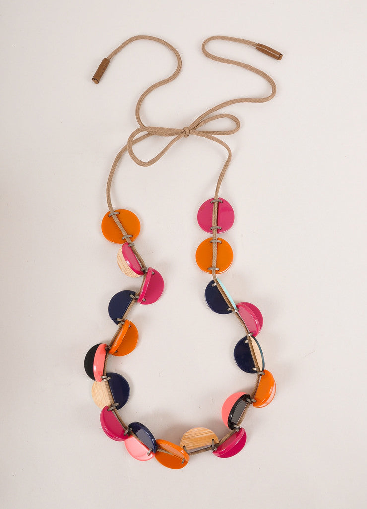 Marni Pink and Orange Wood and Plastic Cord Necklace Frontview