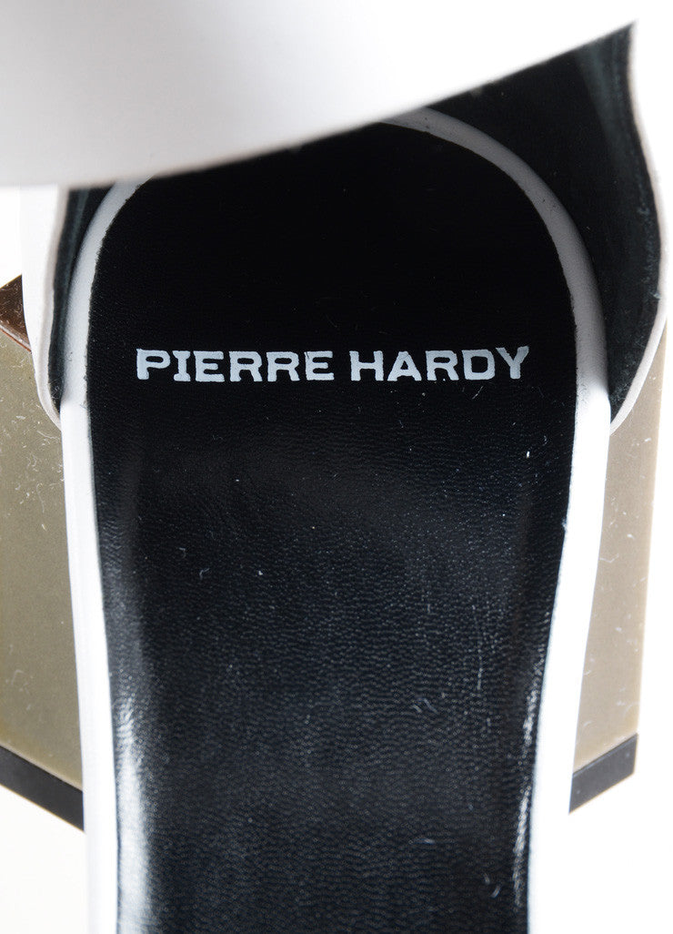 "Pierre Hardy White Leather Metallic Block Heel ""Monolite"" Sandals Brand"