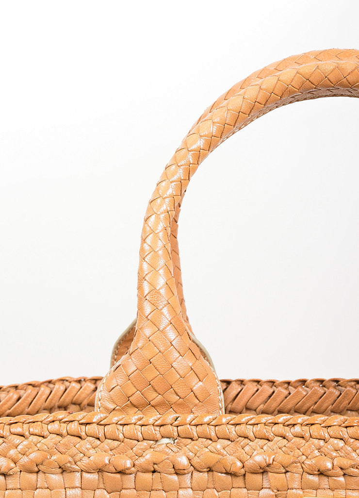 "Tan Prada Leather Woven Top Handle ""Madras"" Crossbody Tote Bag Detail 2"