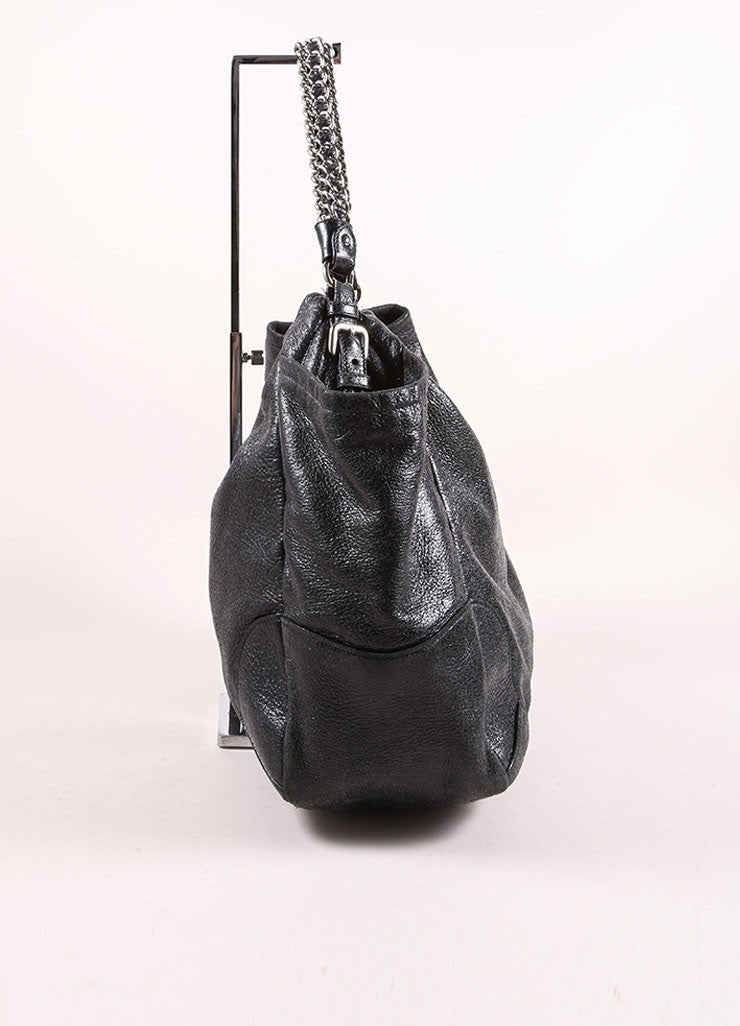 "Prada Black Distressed Leather Metallic Glitter Chain ""Cervo Lux"" Shoulder Bag Sideview"
