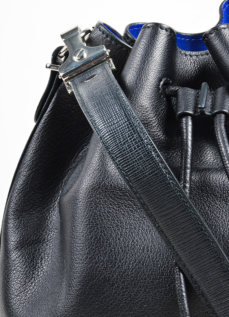 Proenza Schouler Black and Cobalt Leather Crossbody Bucket Bag with Pouch Detail 2