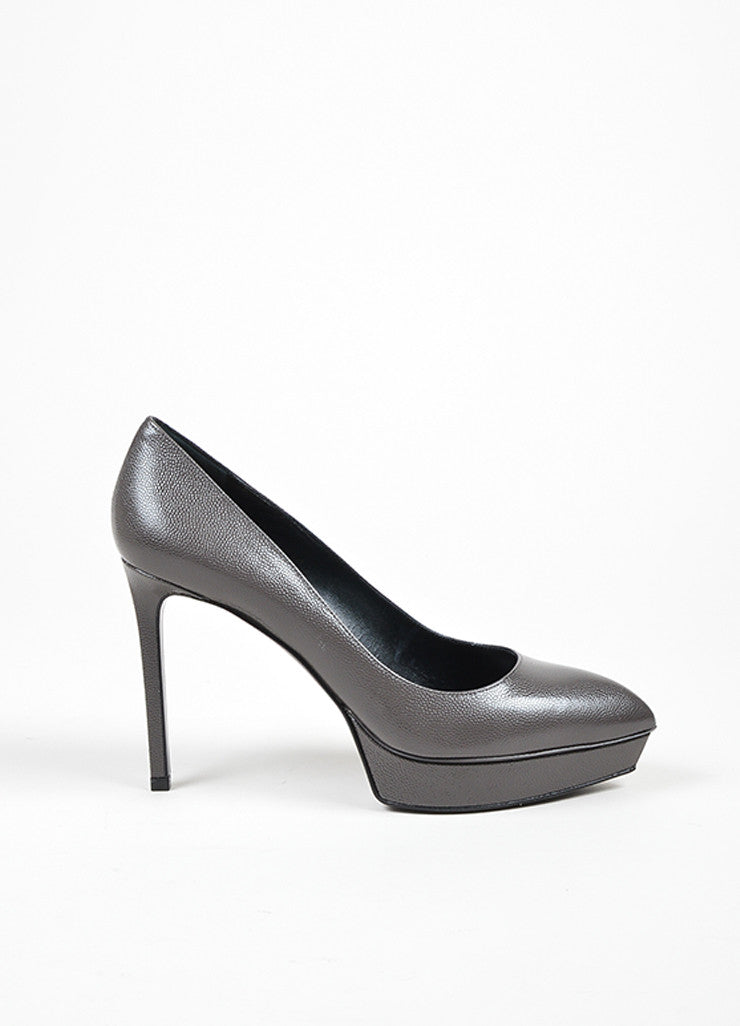 "Saint Laurent ""Road Gray"" Leather Point Platform ""Janis"" Pumps Sideview"