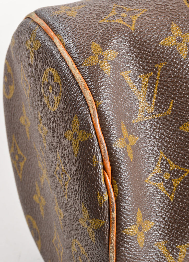 "Louis Vuitton Brown Coated Canvas and Leather Monogram ""Papillon 30"" Bag Detail"