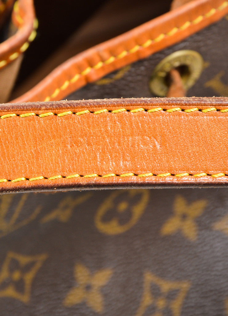 "Brown and Tan Louis Vuitton Coated Canvas Monogram ""Petit Noe"" Bucket Bag Brand"