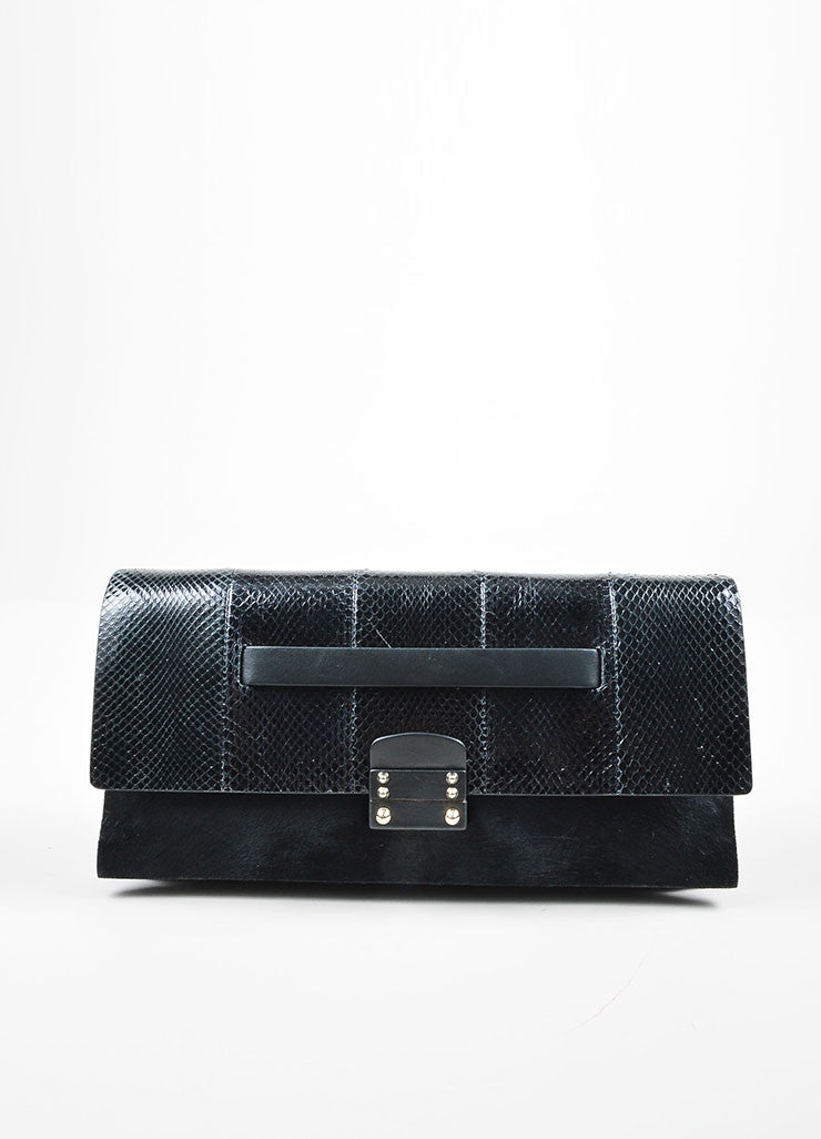 Black Valentino Snakeskin Leather and Pony Hair Rectangle Clutch Bag Frontview