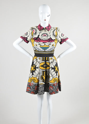 Multicolor Valentino Mixed Floral Print Short Sleeve Flared Dress Frontview