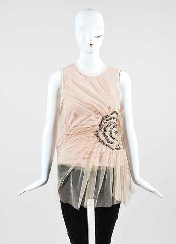 Beige and Pale Pink Valentino T-Shirt Couture Tulle Overlay Embellished Sleeveless Top Frontview
