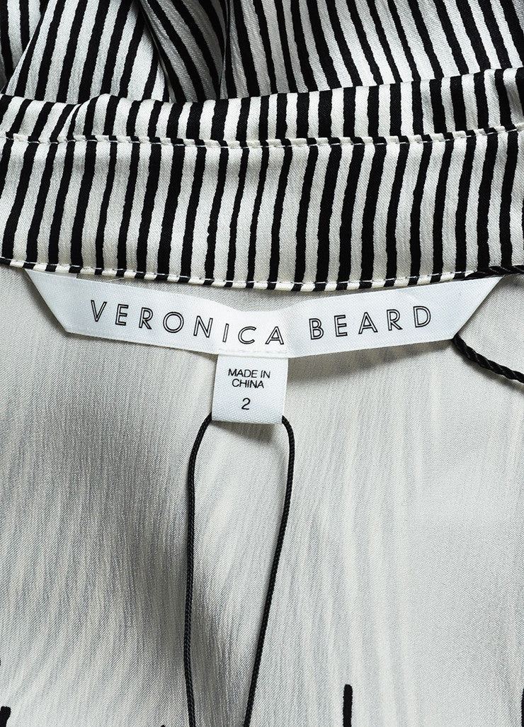 "Veronica Beard Cream and Black Silk Striped Long Sleeve Ruched ""Clara"" Dress Brand"