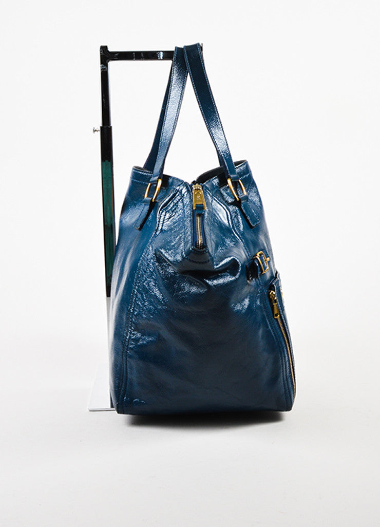 "Yves Saint Laurent Rive Gauche Blue Patent Leather ""Downtown"" Tote Bag Sideview"